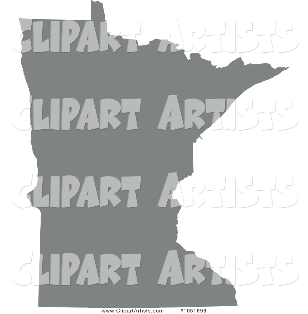 Gray Silhouetted Shape of the State of Minnesota, United States