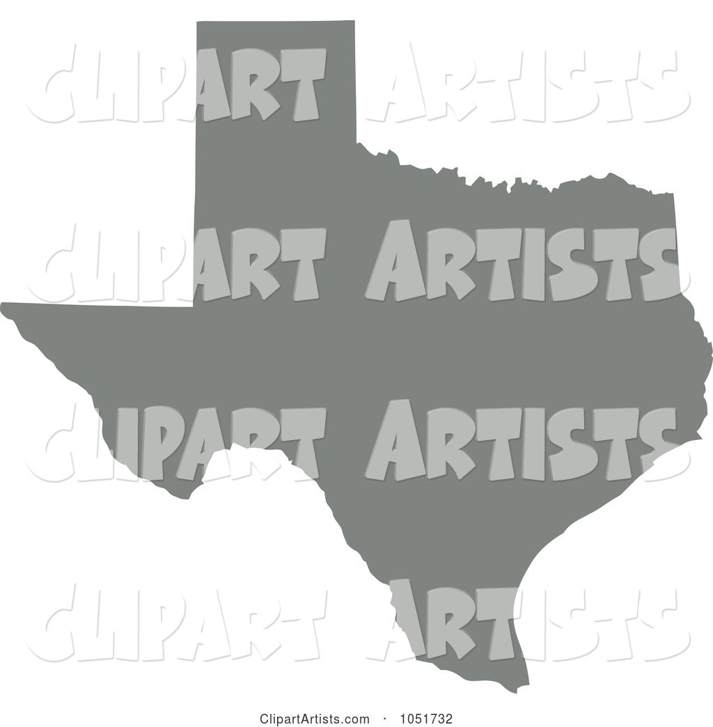 Gray Silhouetted Shape of the State of Texas, United States