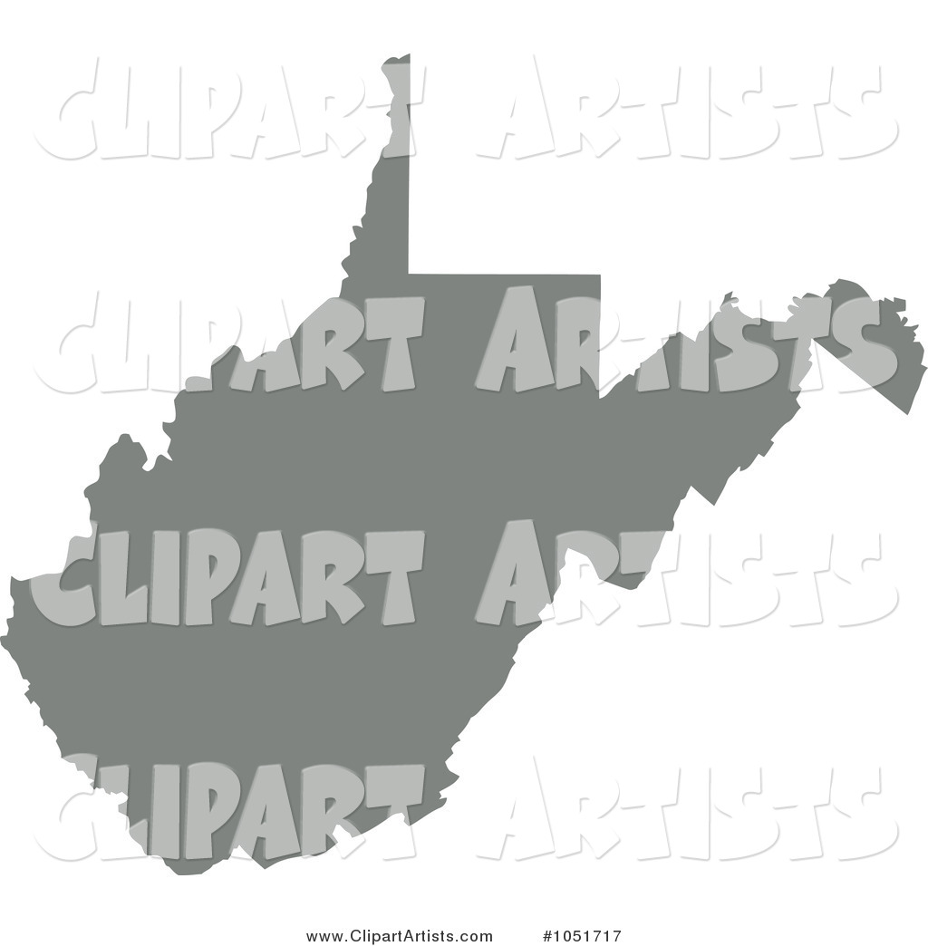 Gray Silhouetted Shape of the State of West Virginia, United States