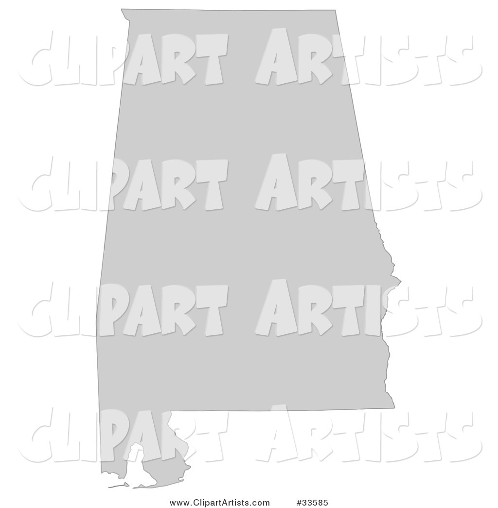 Gray State Silhouette of Alabama, United States, on a White Background