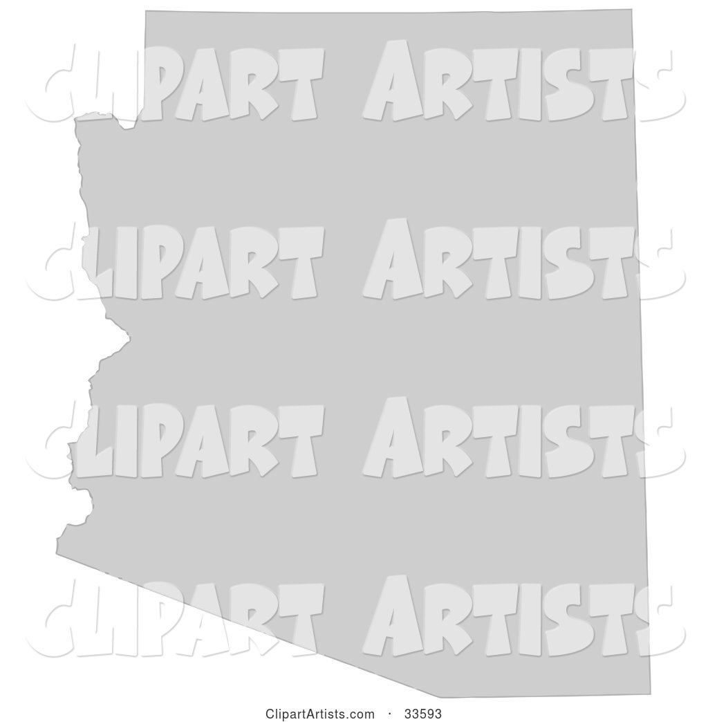 Gray State Silhouette of Arizona, United States, on a White Background