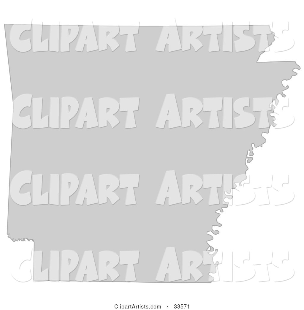 Gray State Silhouette of Arkansas, United States, on a White Background
