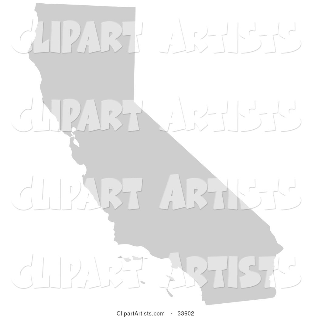 Gray State Silhouette of California, United States, on a White Background