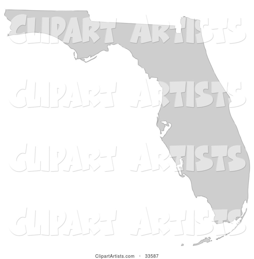 Gray State Silhouette of Florida, United States, on a White Background