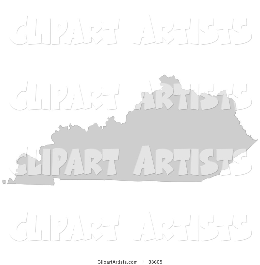 Gray State Silhouette of Kentucky, United States, on a White Background