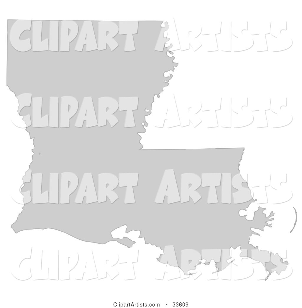 Gray State Silhouette of Louisiana, United States, on a White Background