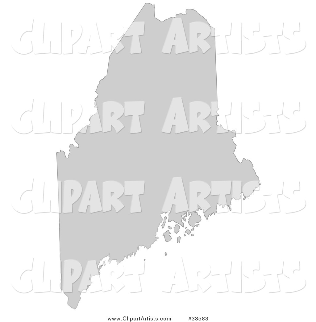 Gray State Silhouette of Maine, United States, on a White Background