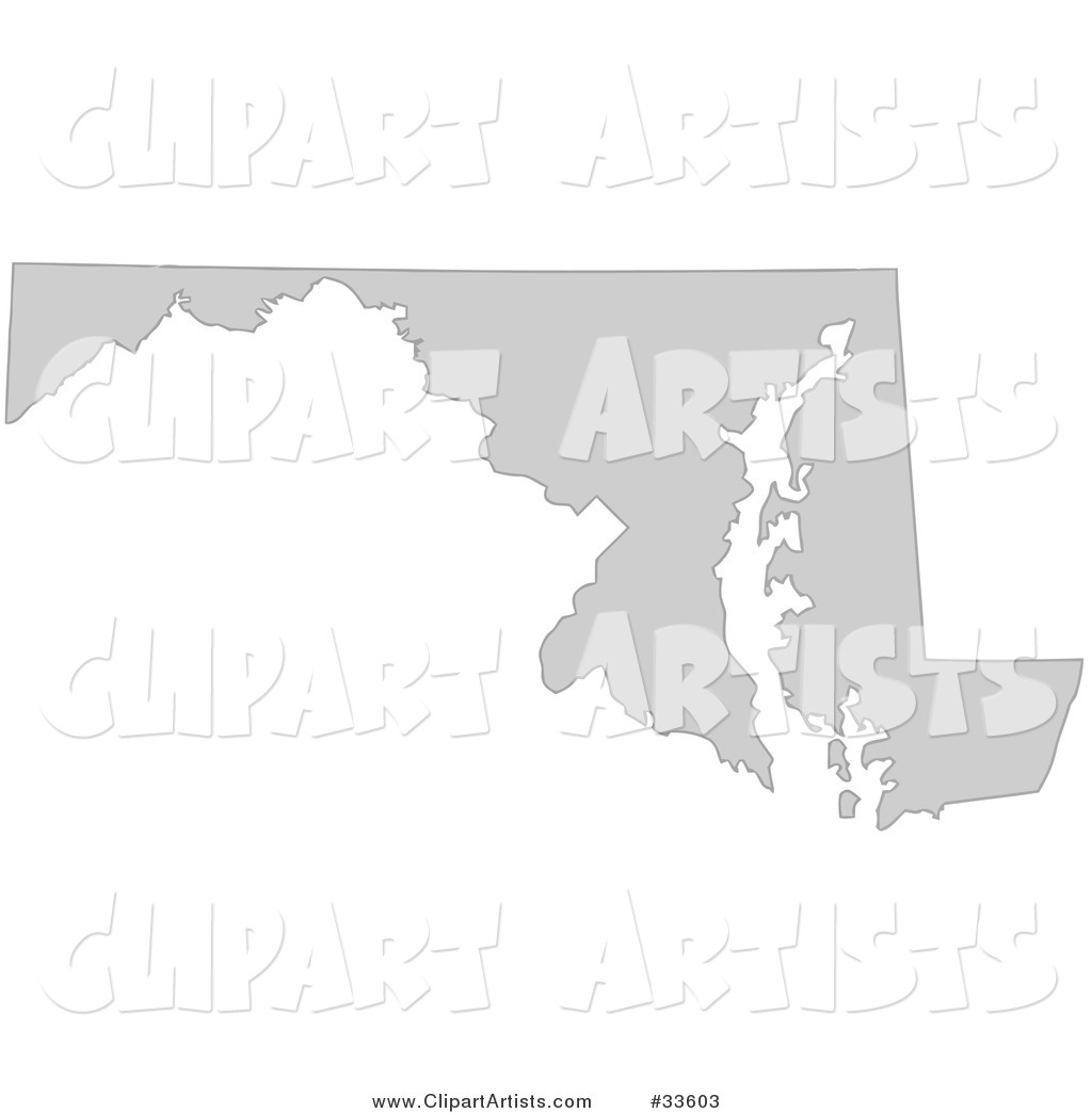 Gray State Silhouette of Maryland, United States, on a White Background