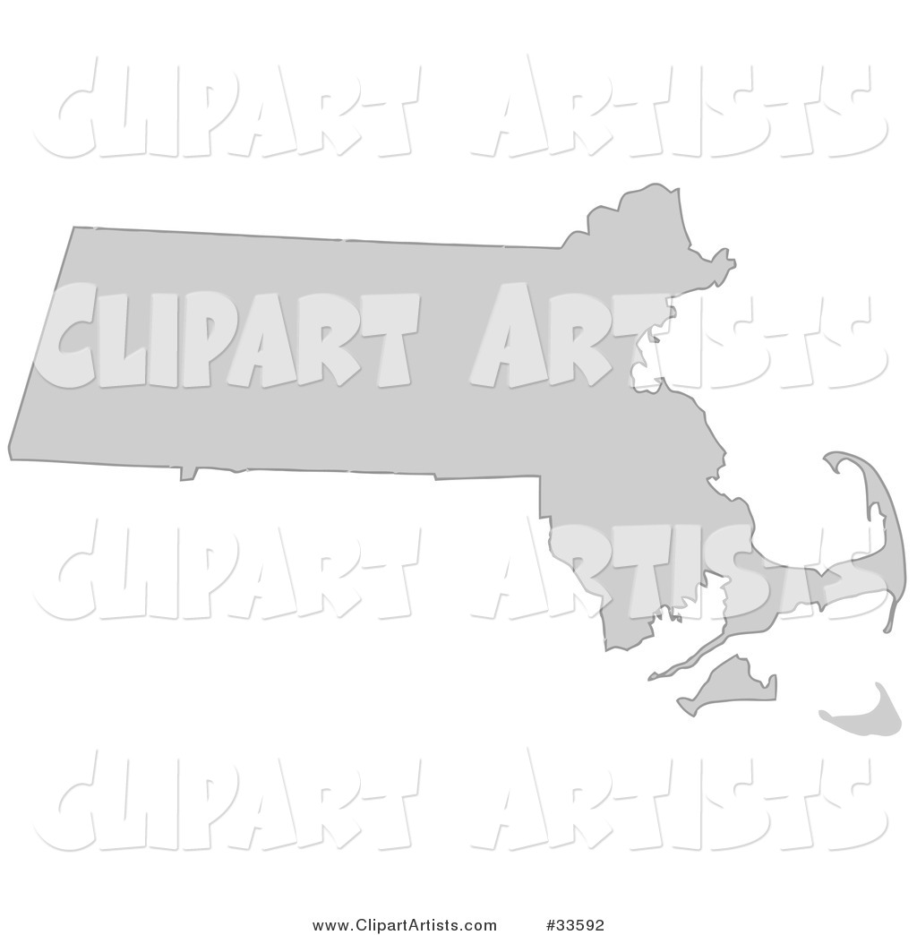 Gray State Silhouette of Massachusetts, United States, on a White Background
