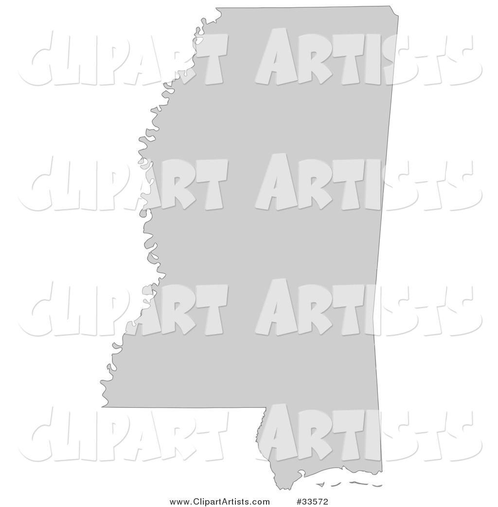 Gray State Silhouette of Mississippi, United States, on a White Background