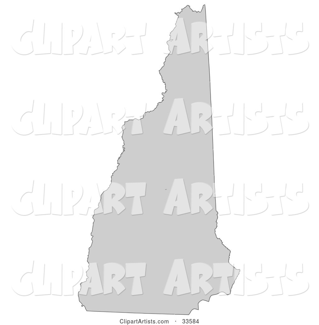 Gray State Silhouette of New Hampshire, United States, on a White Background