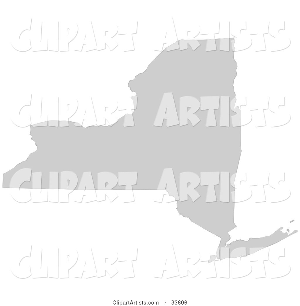 Gray State Silhouette of New York, United States, on a White Background