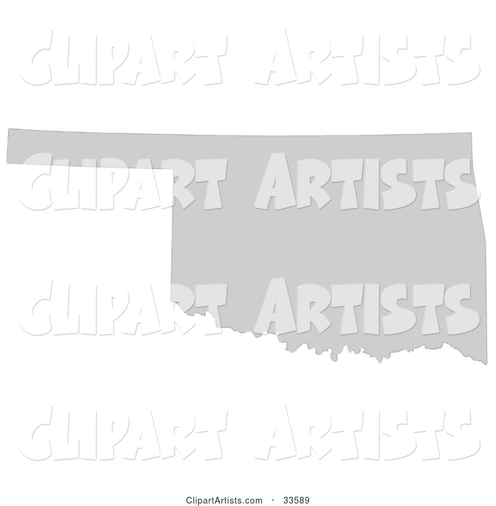 Gray State Silhouette of Oklahoma, United States, on a White Background