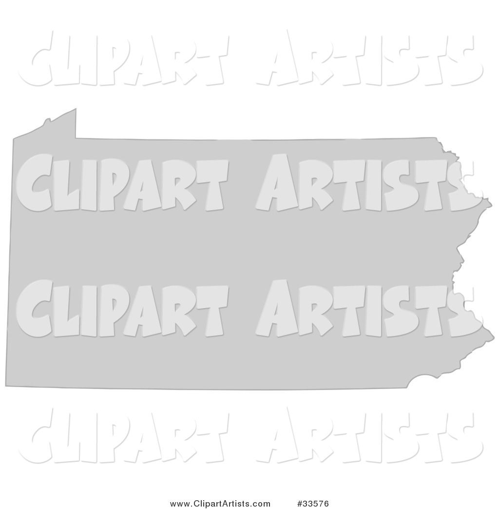 Gray State Silhouette of Pennsylvania, United States, on a White Background