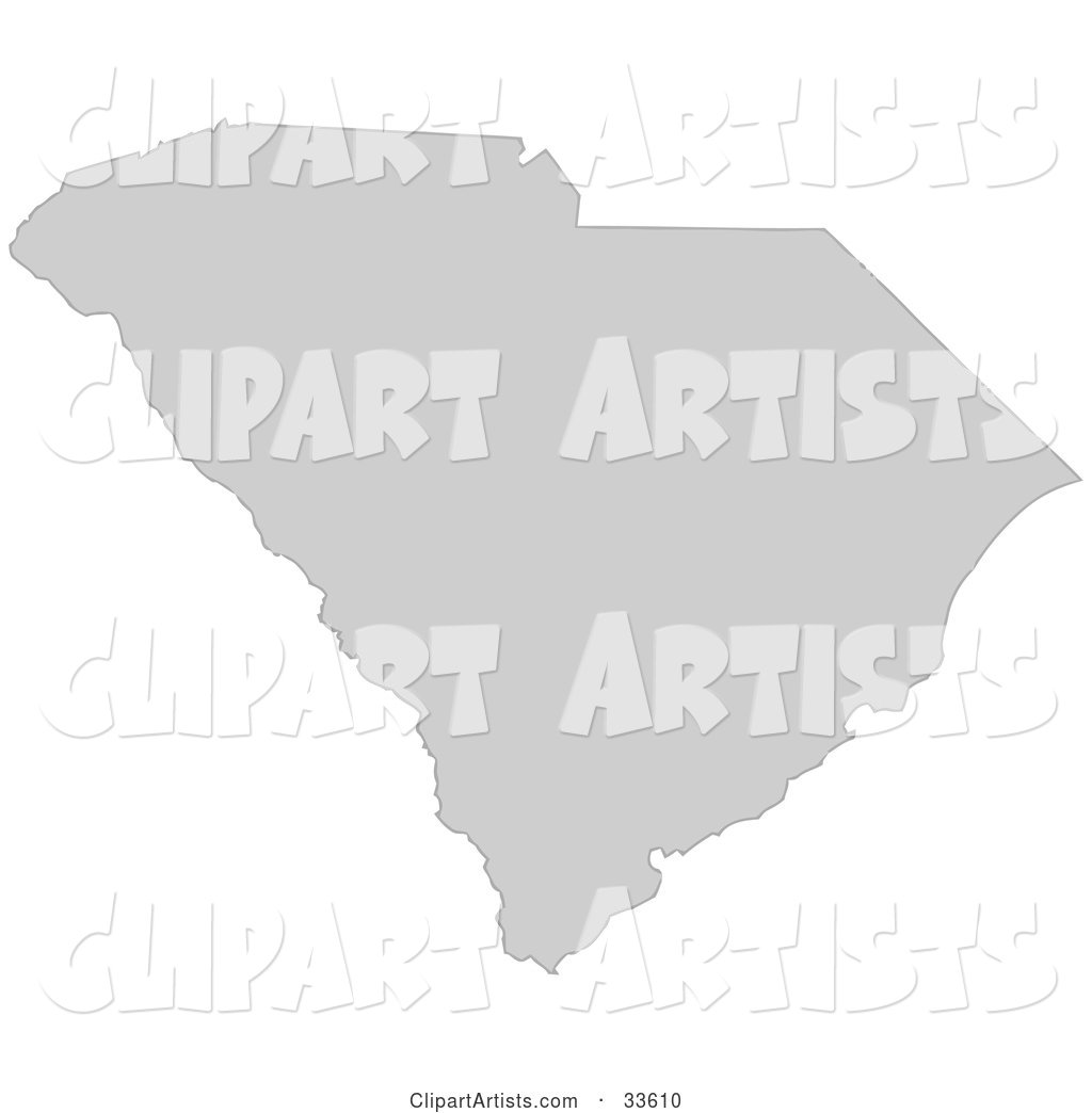 Gray State Silhouette of South Carolina, United States, on a White Background