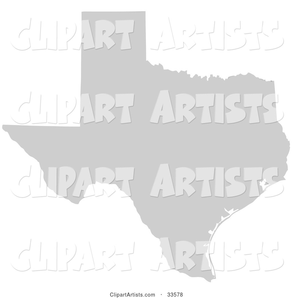 Gray State Silhouette of Texas, United States, on a White Background