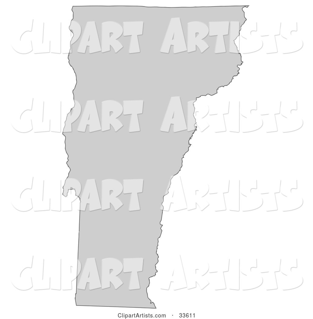 Gray State Silhouette of Vermont, United States, on a White Background