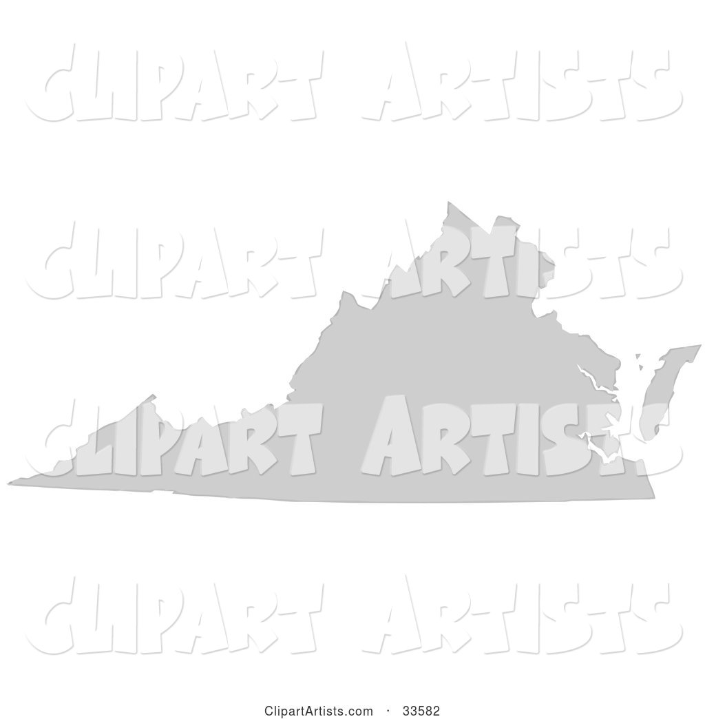 Gray State Silhouette of Virginia, United States, on a White Background