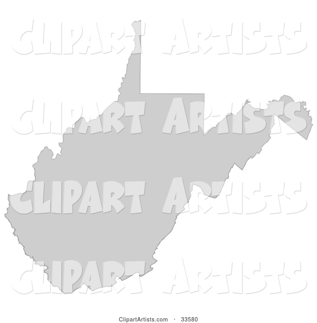 Gray State Silhouette of West Virginia, United States, on a White Background