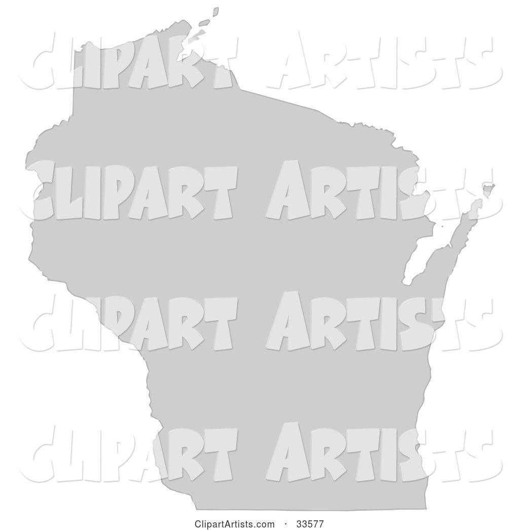 Gray State Silhouette of Wisconsin, United States, on a White Background