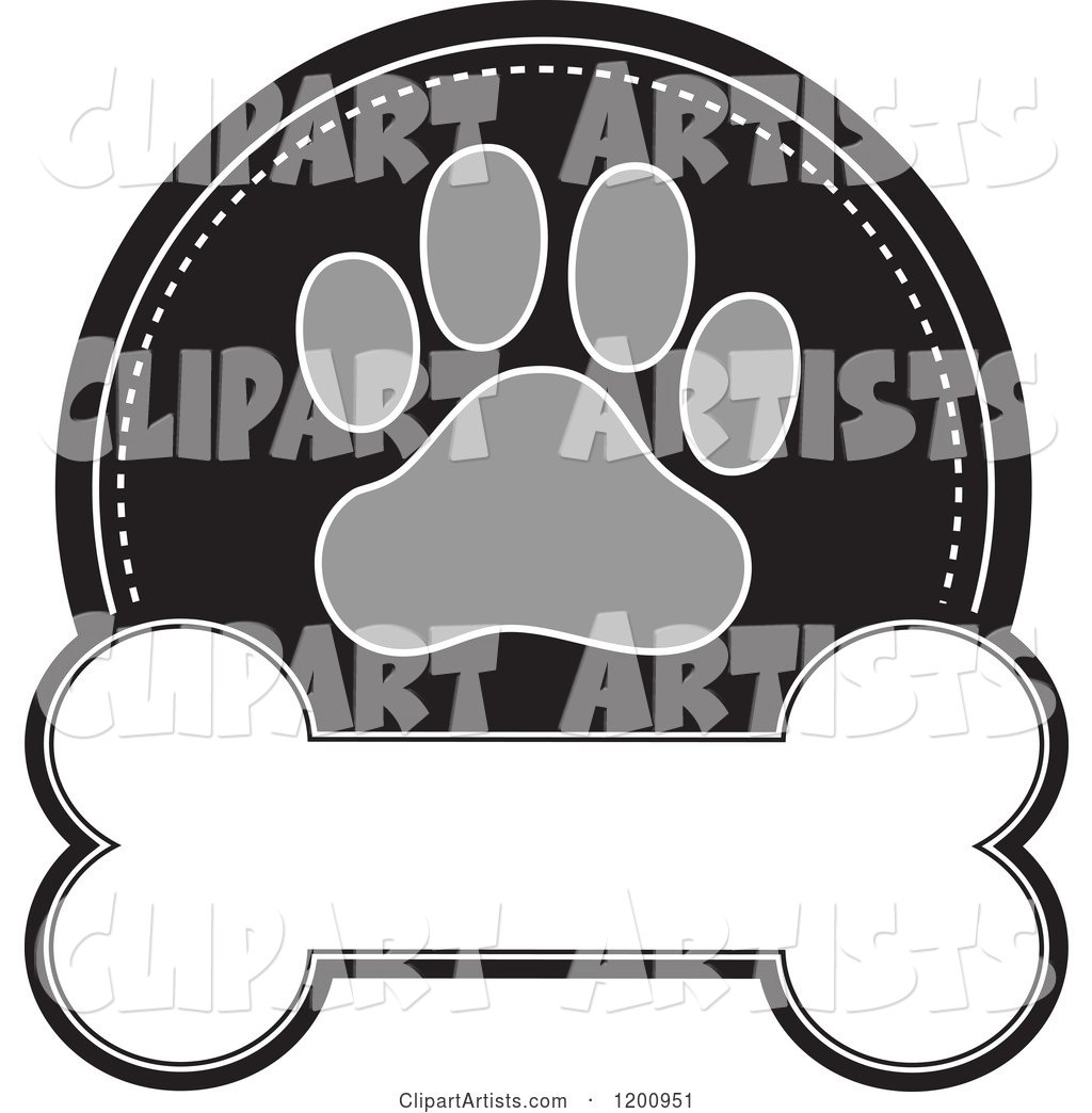 Grayscale Paw Print and Dog Bone Label with Text Space