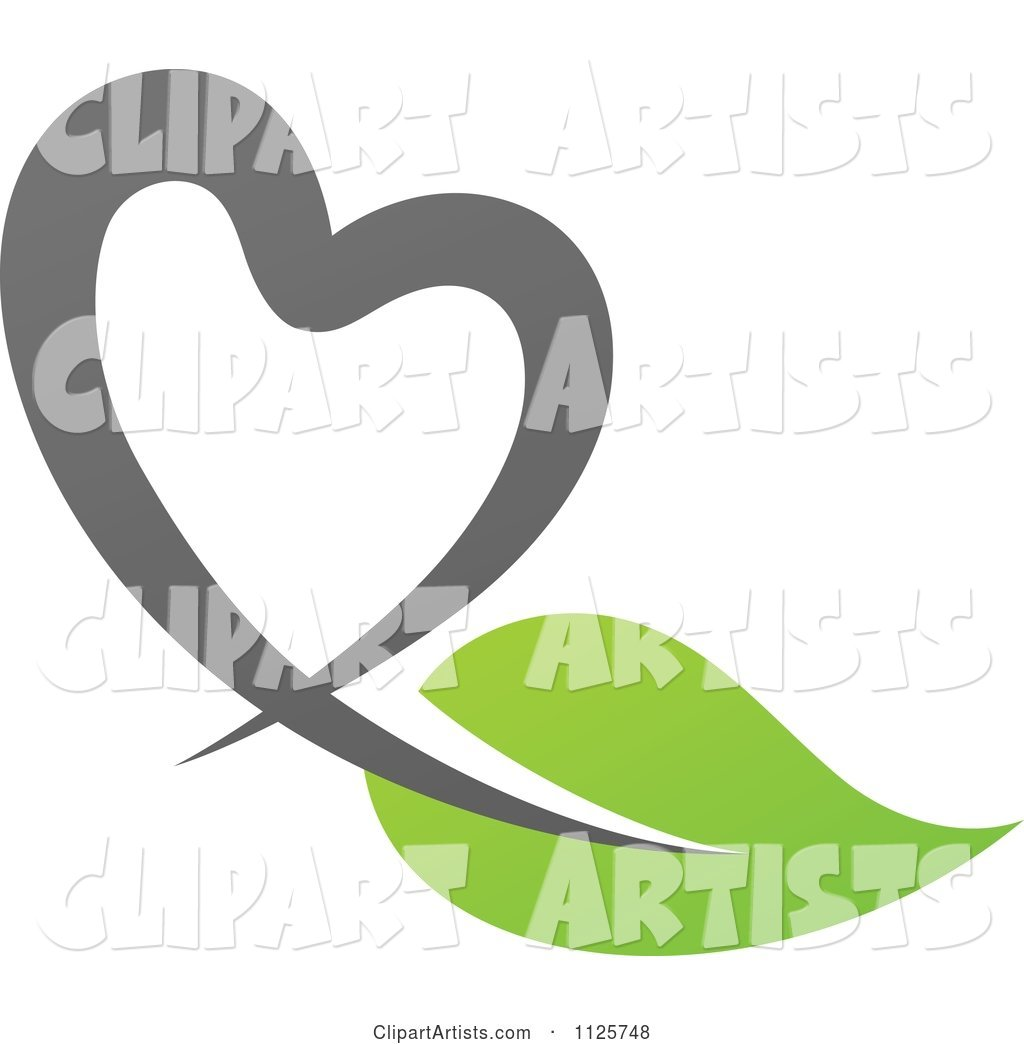 Green and Gray Organic Heart and Leaf 1