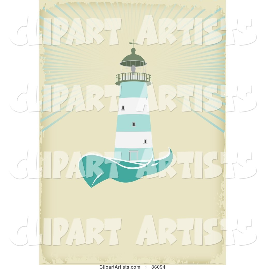 Green and White Lighthouse Casting Light over the Sea, on an Aged Beige Background with Space for Text