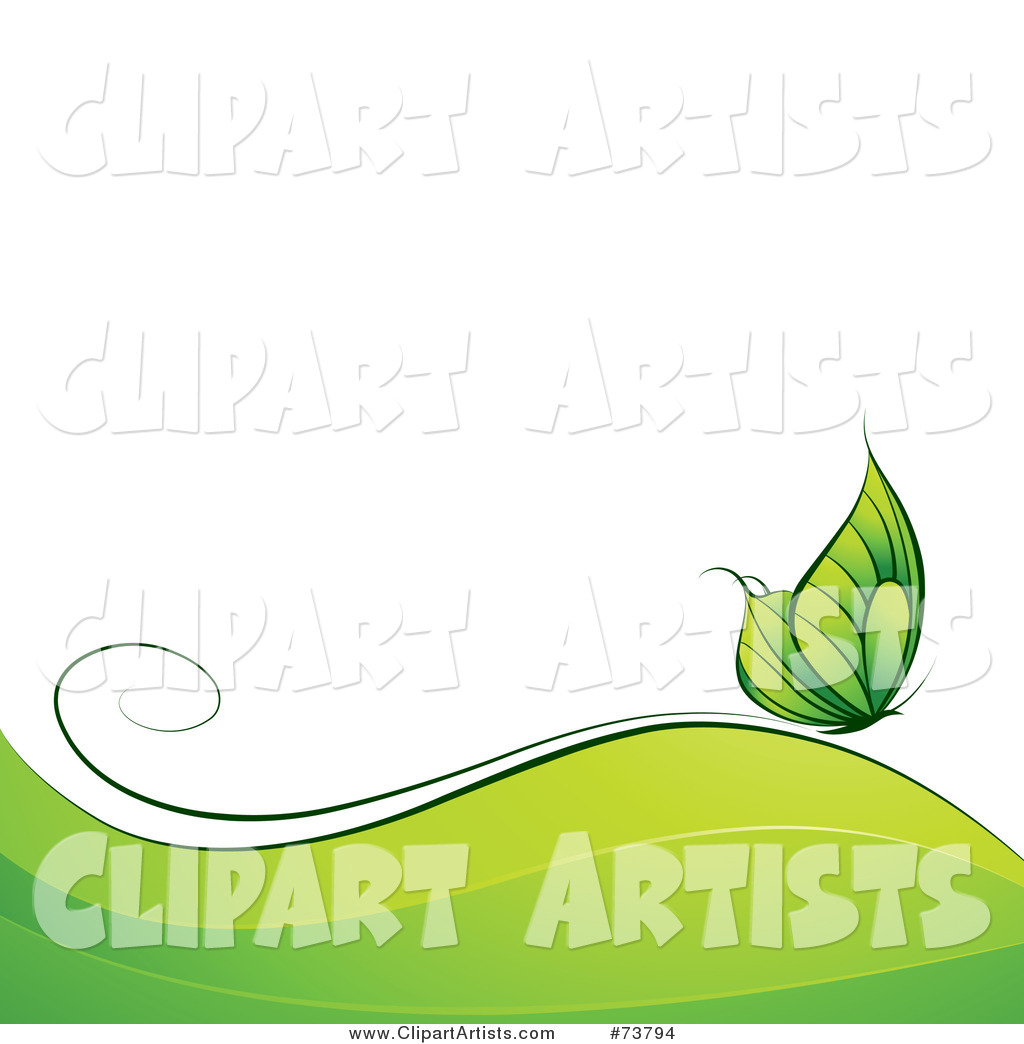 Green Butterfly over Waves with White Text Space