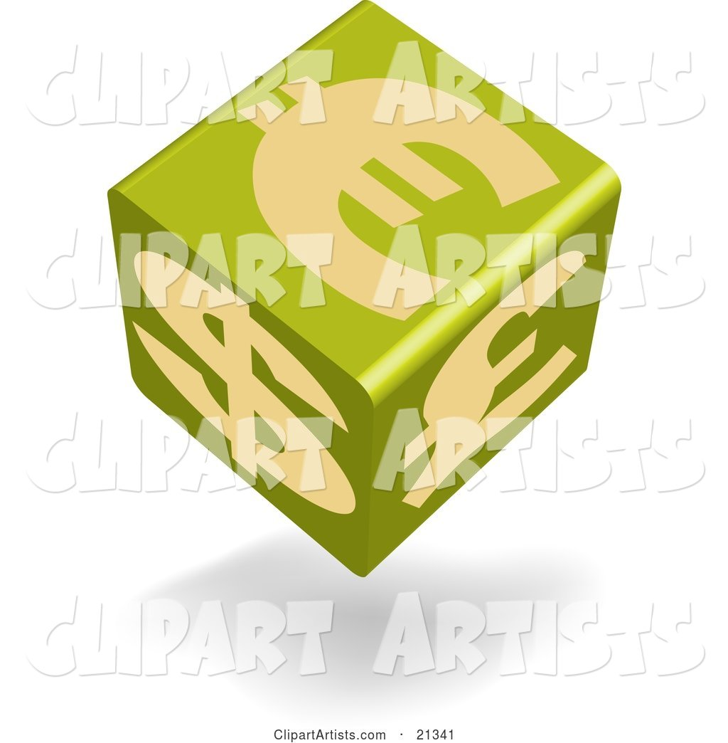 Green Currency Cube Showing Euro, Pound and Dollar Symbols