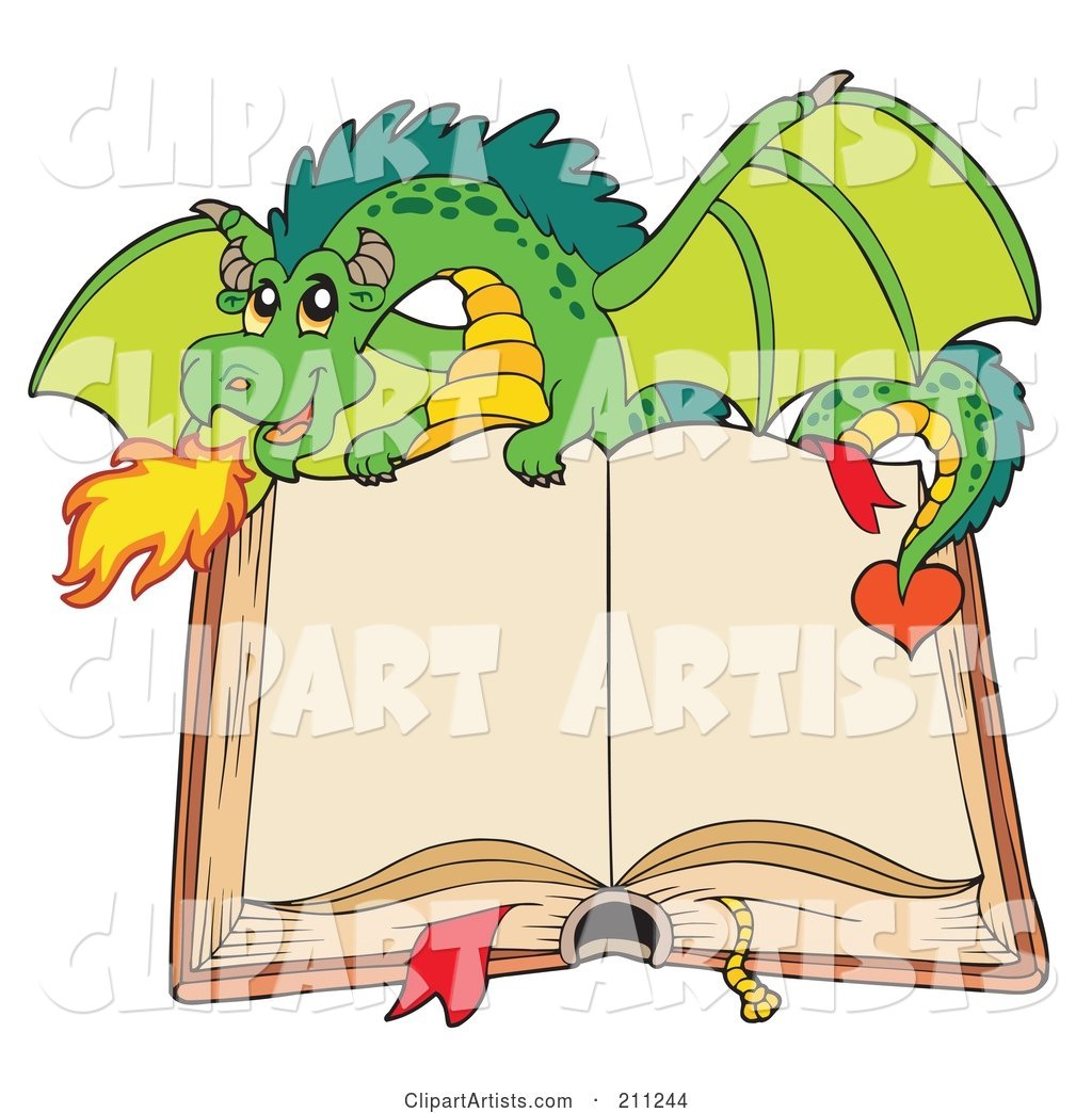 Green Dragon Breathing Fire over an Open Book with Blank Pages