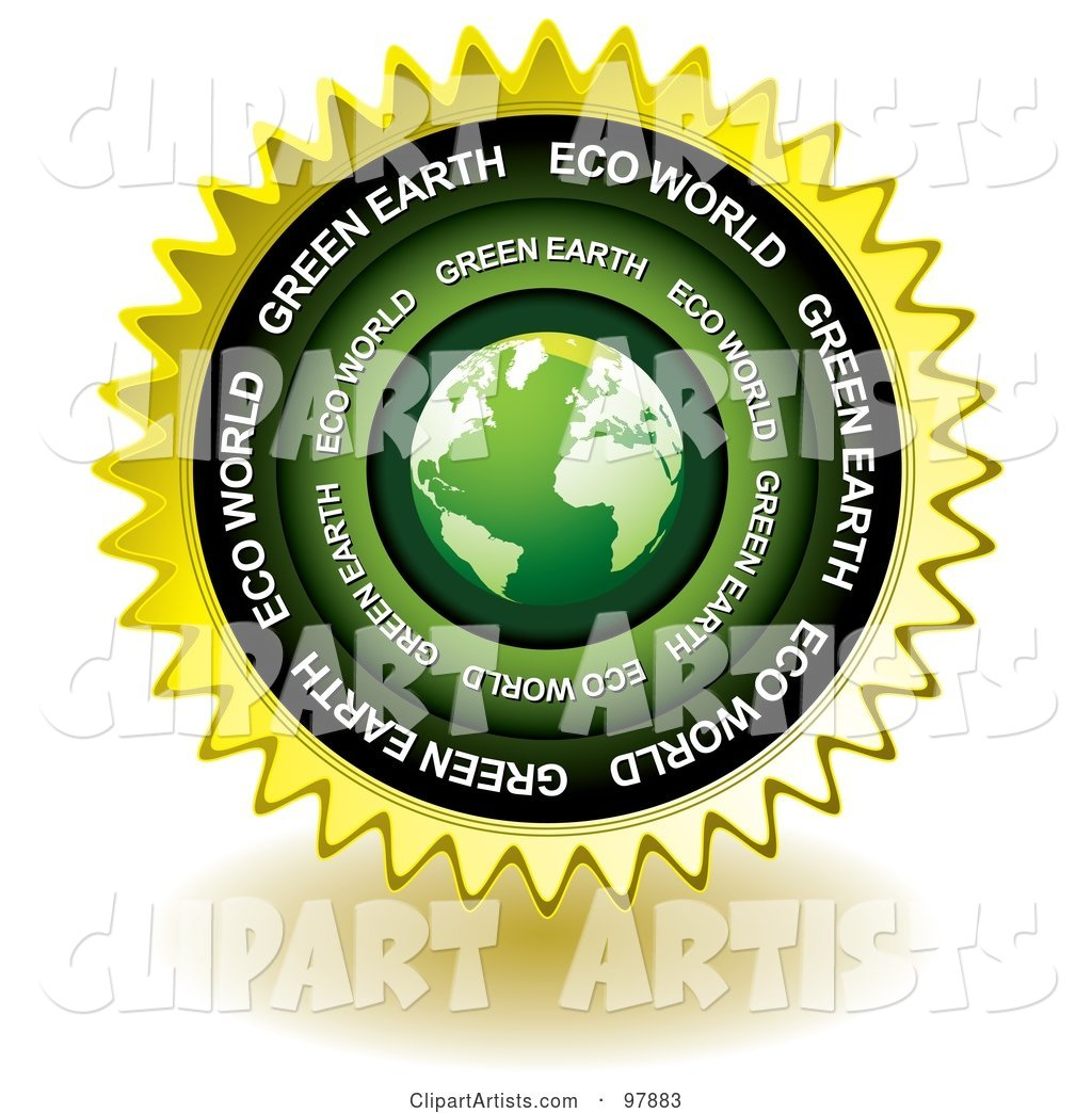 Green Eco Earth Sticker Seal Icon