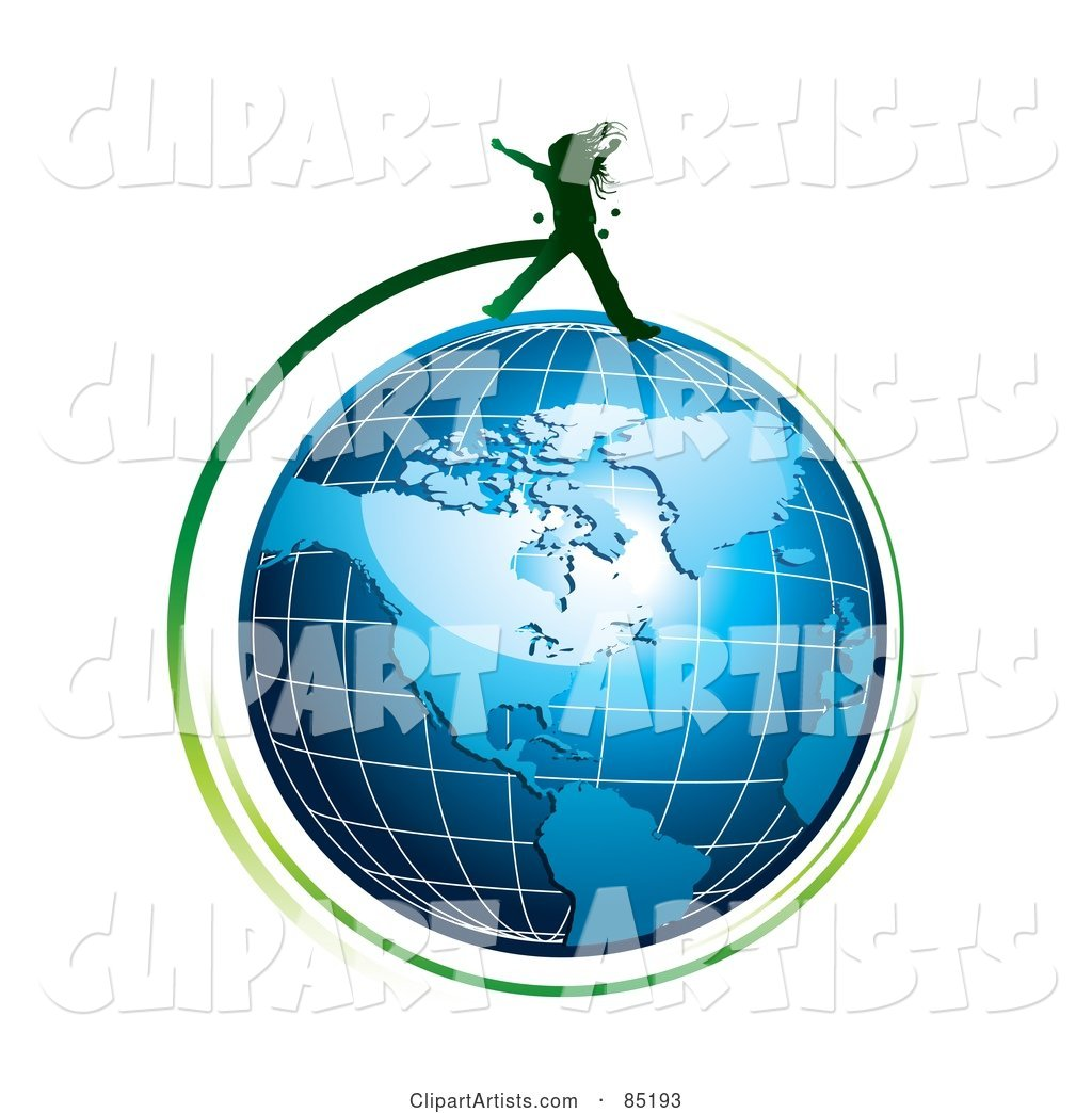 Green Girl Silhouette Jumping over a Blue Grid Globe