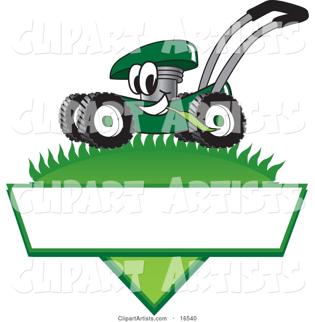 Green Lawn Mower Mascot Cartoon Character Mowing Grass over a Blank White Label