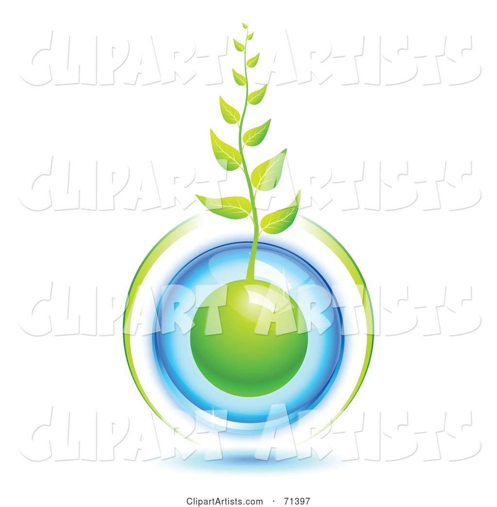 Green Organic Vine Growing Form a Blue Protected Globe