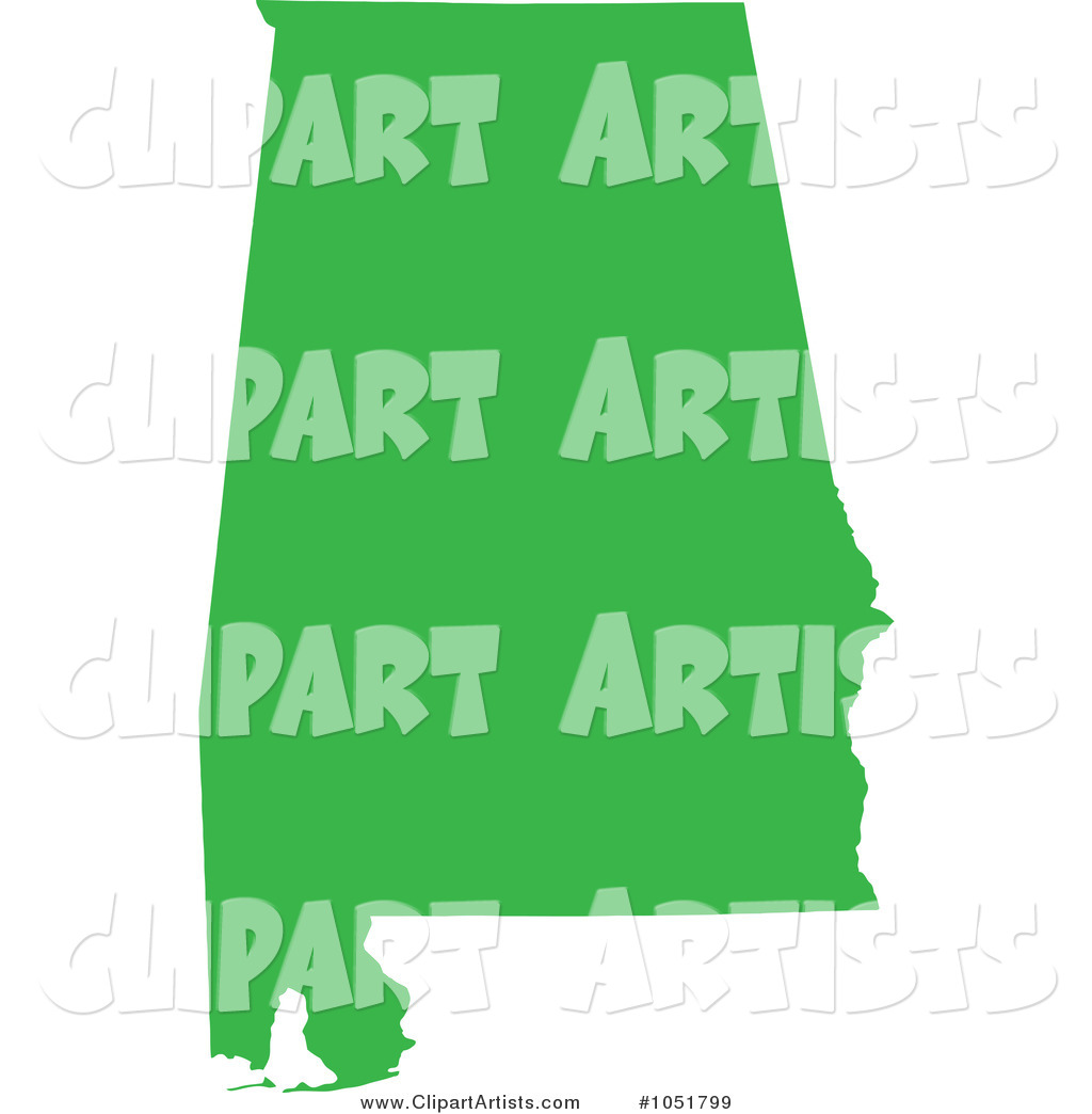 Green Silhouetted Shape of the State of Alabama, United States