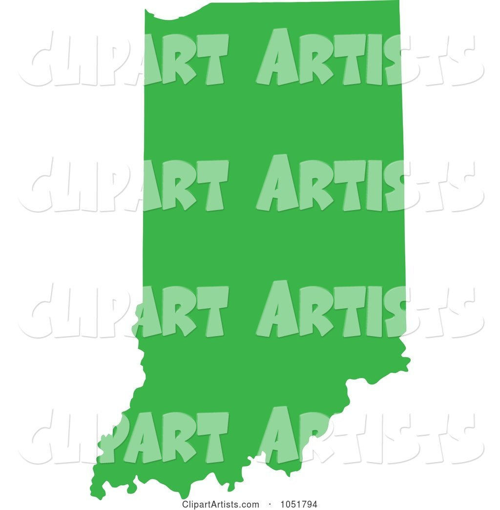Green Silhouetted Shape of the State of Indiana, United States