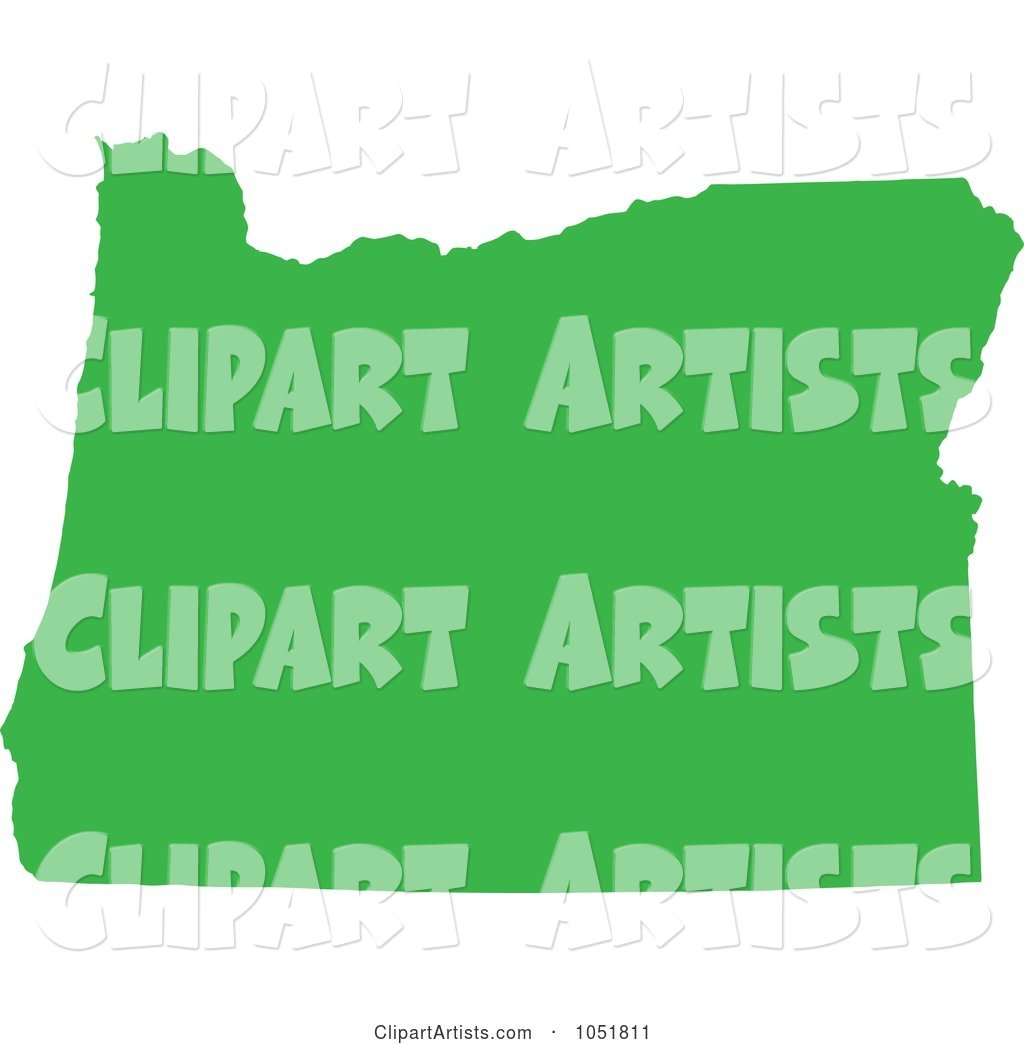 Green Silhouetted Shape of the State of Oregon, United States