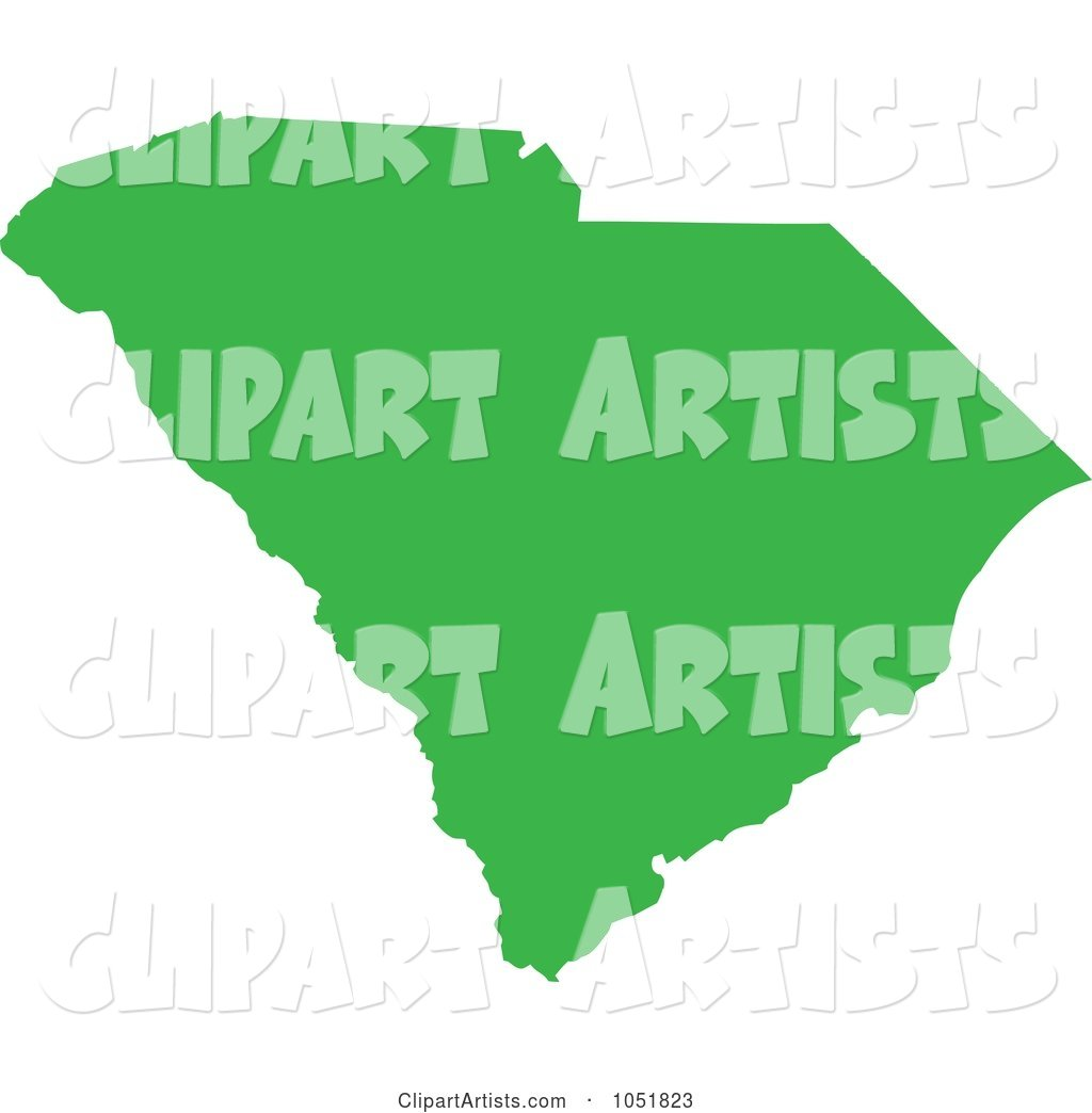 Green Silhouetted Shape of the State of South Carolina, United States