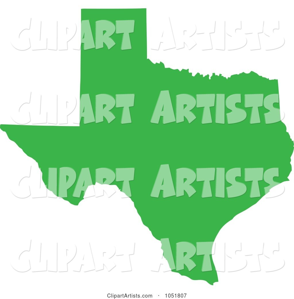Green Silhouetted Shape of the State of Texas, United States