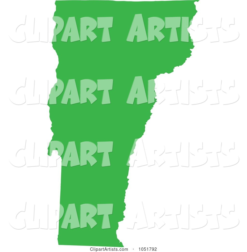 Green Silhouetted Shape of the State of Vermont, United States