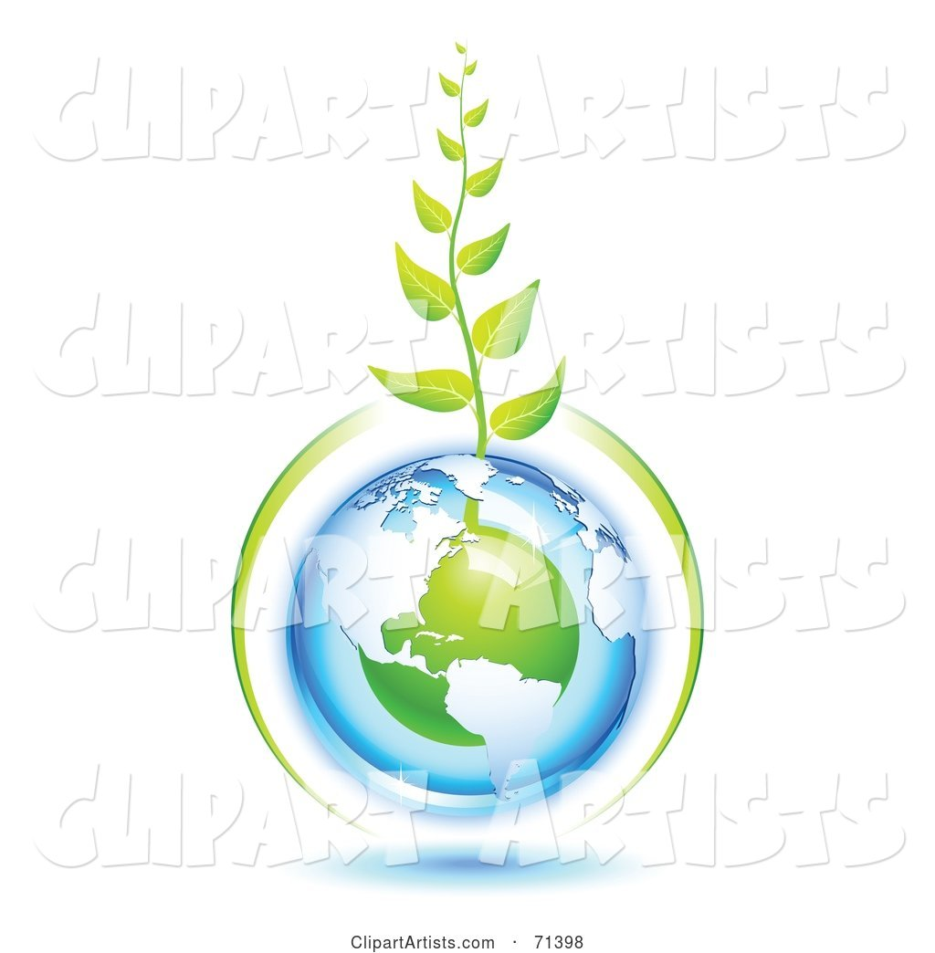 Green Vine Growing from a Blue and Green Protected American Globe