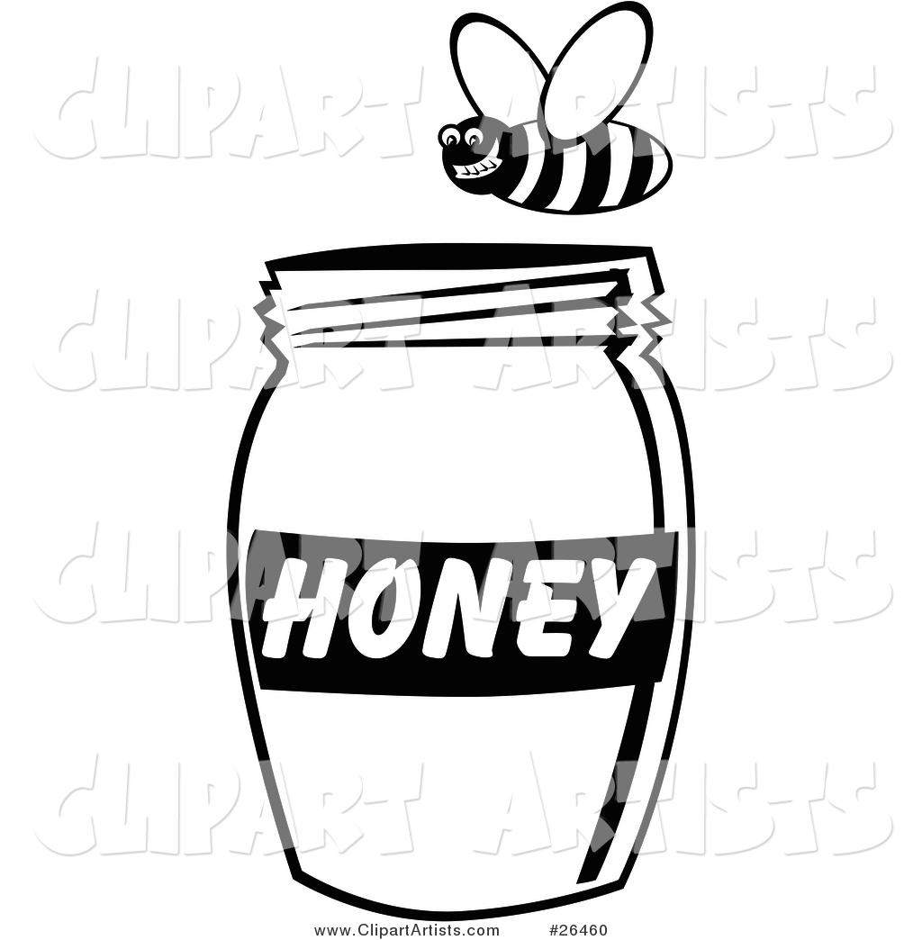 Grinning Bee Flying Above a Jar of Honey, Black and White