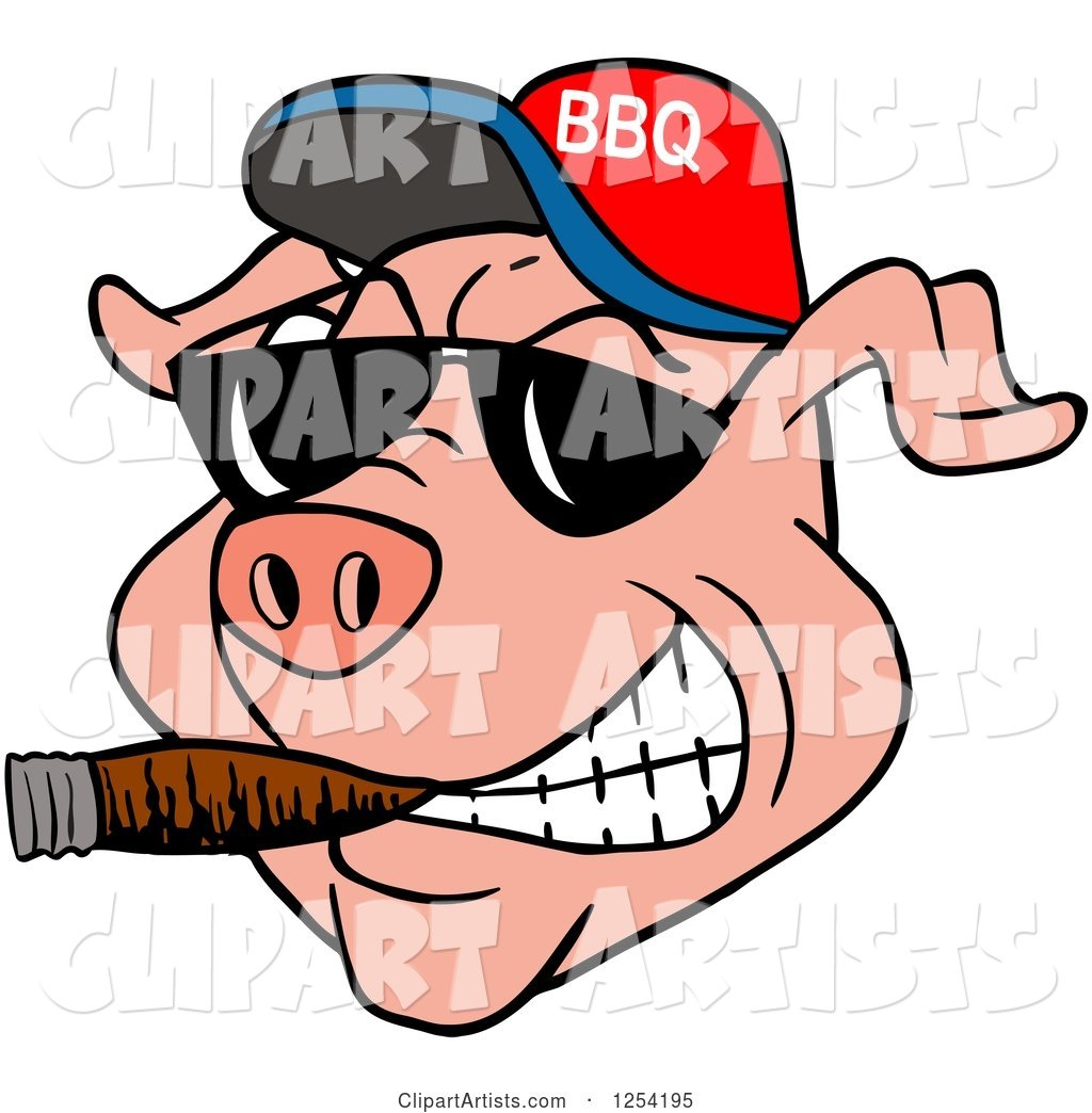 Grinning Pig Smoking a Cigar, Wearing Sunglasses and a Bbq Hat