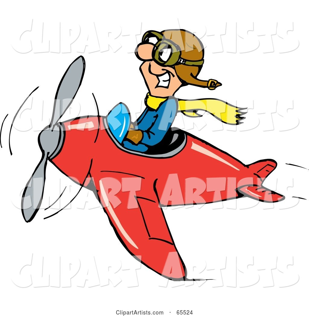 Grinning Pilot Man Flying a Red Plane