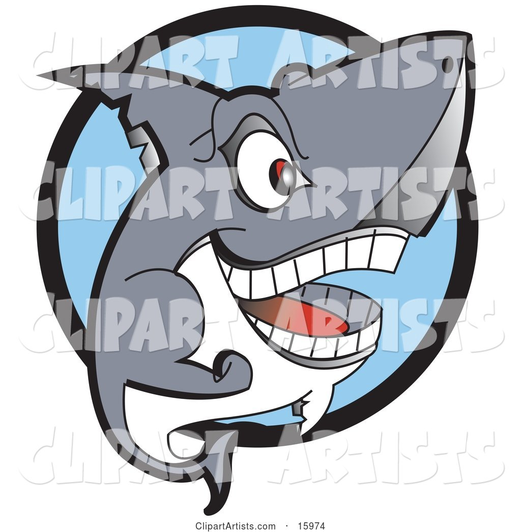 Grinning Shark Showing Its Teeth Clipart Illustration