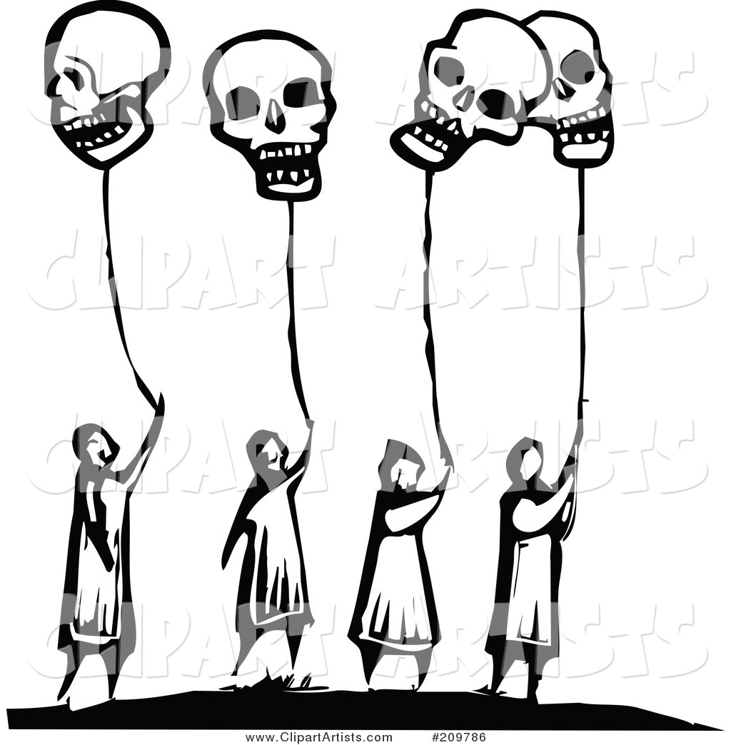 Group of Black and White People Holding onto Skull Balloons