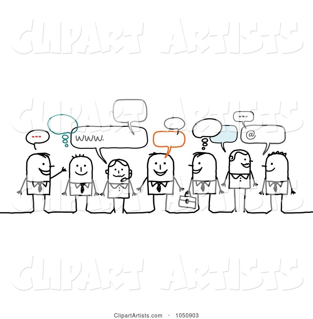 Group of Business Stick People Chatting