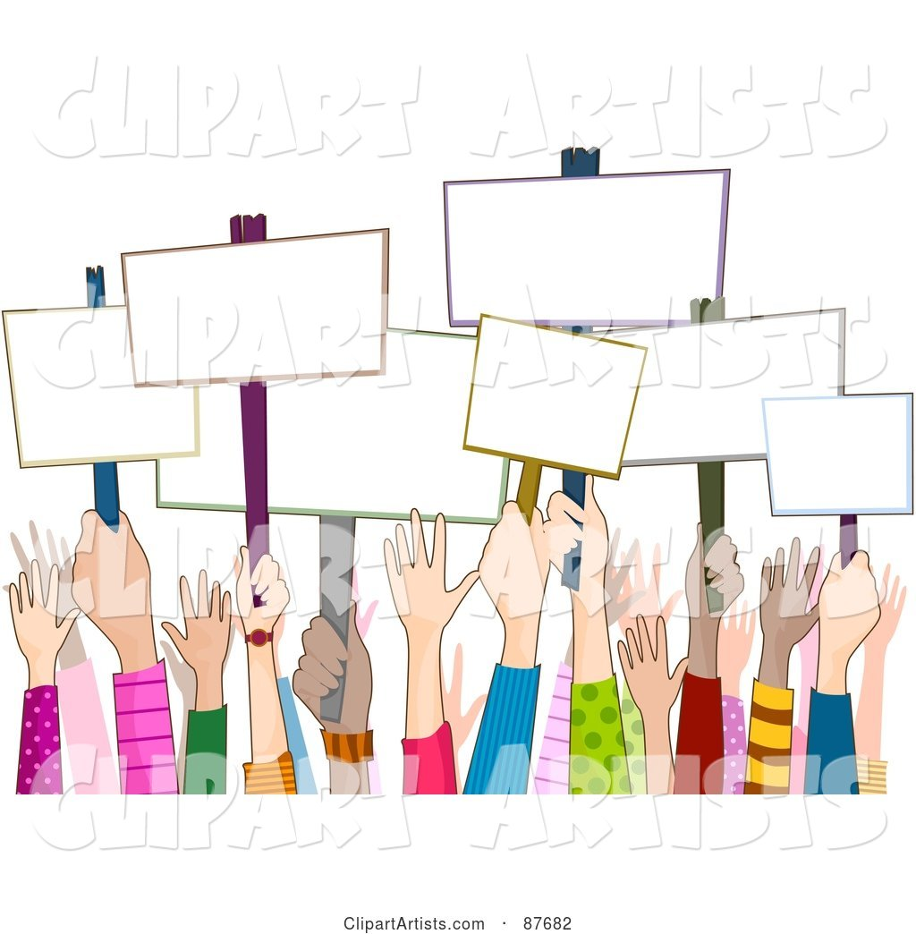 Group of Diverse Rally Hands Holding up Blank Signs