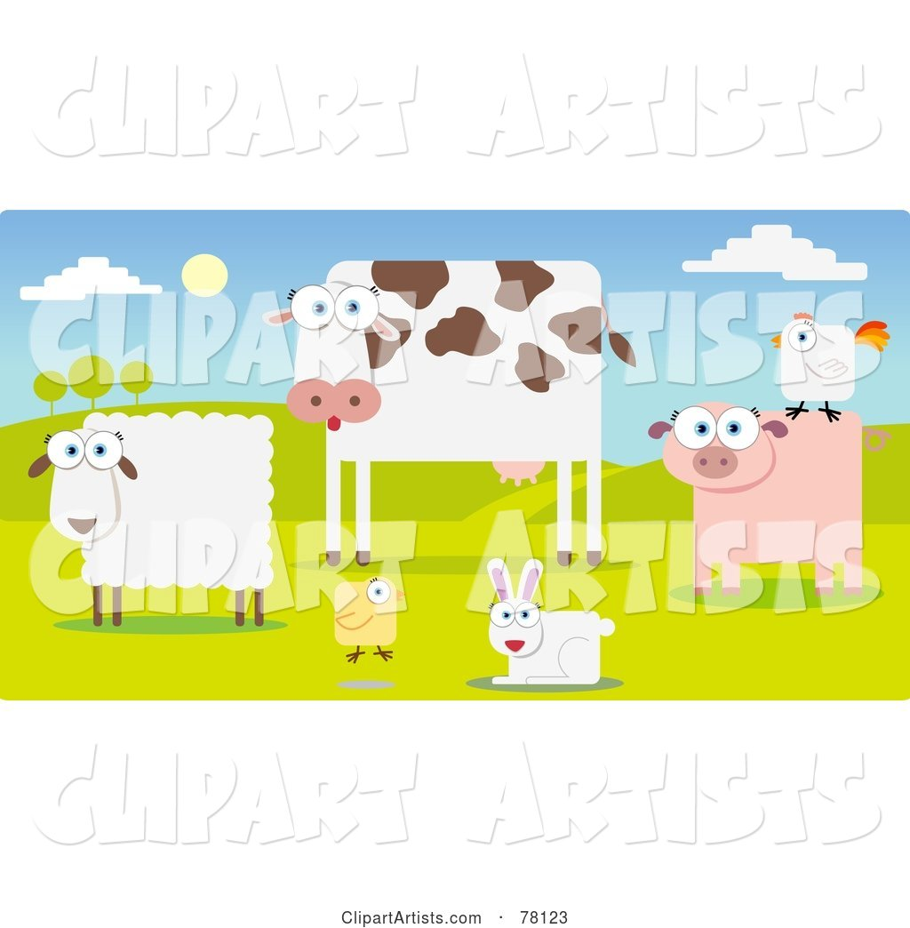 Group of Farm Animals in a Pasture; Sheep, Cow, Chicken, Rabbit, Pig and Rooster