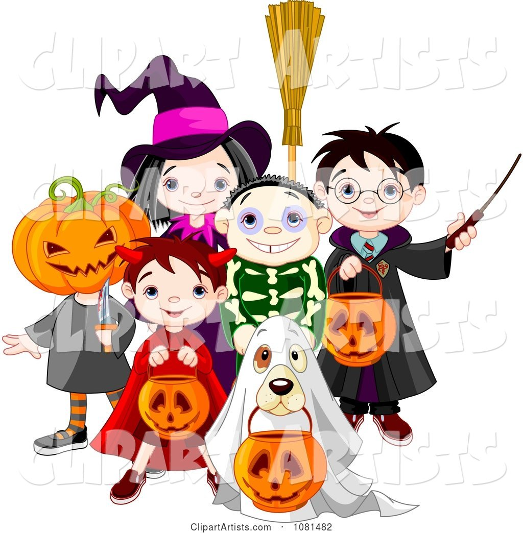 Group of Halloween Trick or Treating Kids and a Dog